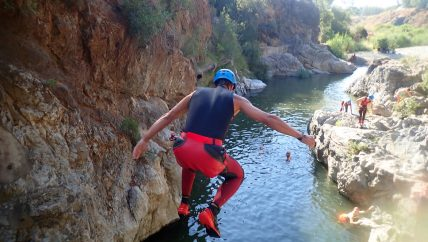 Canyon during active youth holiday in Spain