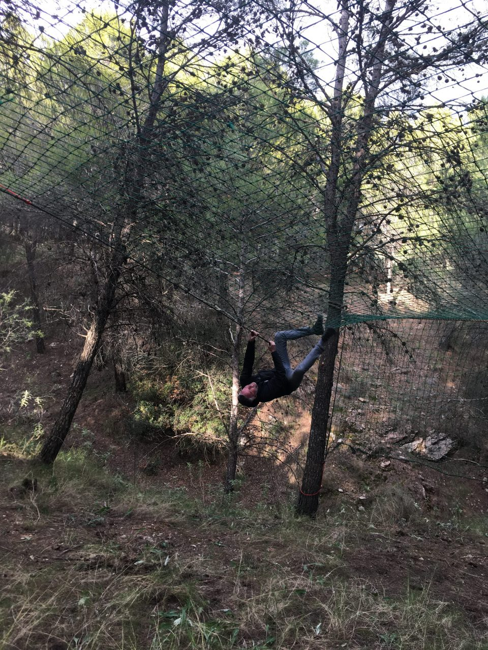 even uitproberen tijdens survivalrun in Spanje
