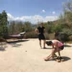 gymnastic during outdoor holiday in Spain