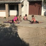 yoga during outdoor holiday in Spain